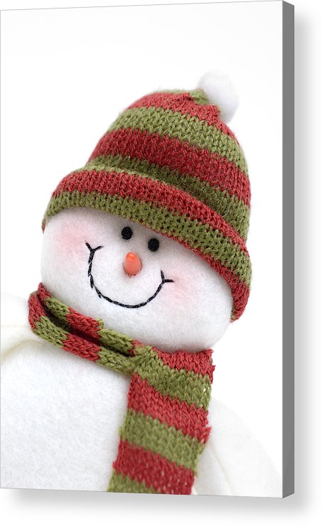 White Background Acrylic Print featuring the photograph Snowman Wearing Knit  Hat ad7999b0336