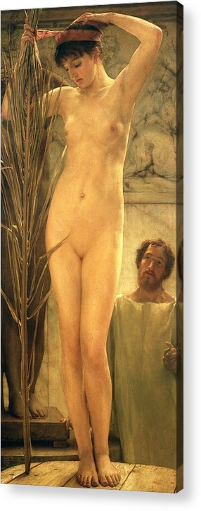 Nude Acrylic Print featuring the painting The Sculptor's Model by Sir Lawrence Alma-Tadema