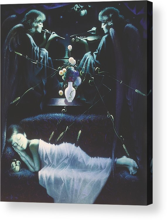 Figures Acrylic Print featuring the painting Dream With Angels by Andrej Vystropov