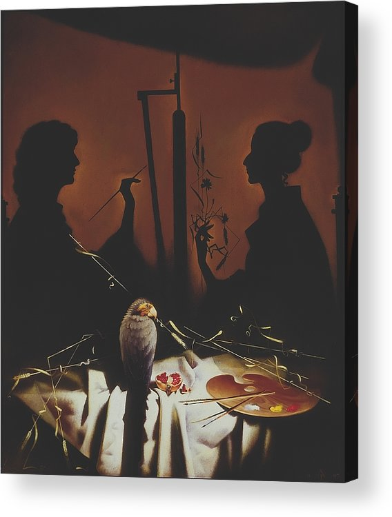 Figures Acrylic Print featuring the painting In Atelier by Andrej Vystropov