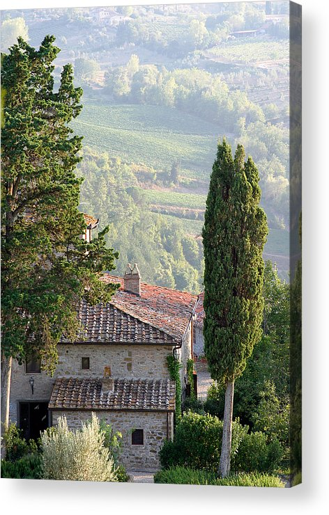 Italy Acrylic Print featuring the photograph Tuscan Farmhouse At Villa Vignamaggio by Mathew Lodge