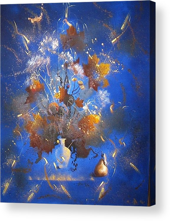 Still Life Acrylic Print featuring the painting The Blue Bouquet by Andrej Vystropov