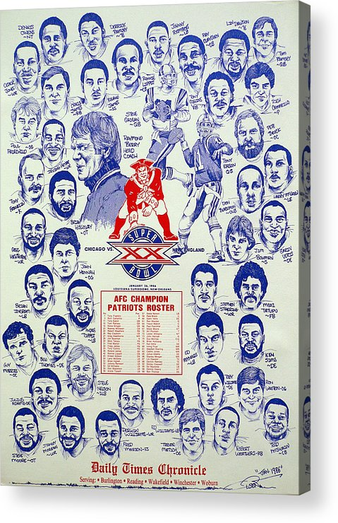 Nfl Acrylic Print featuring the drawing 1985 New England Patriots Superbowl Newspaper Poster by Dave Olsen