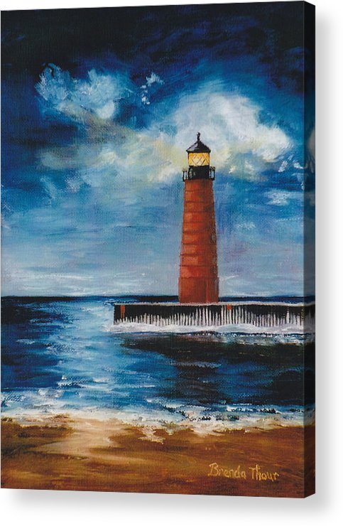 Lighthouse Acrylic Print featuring the painting Lonely Beacon by Brenda Thour