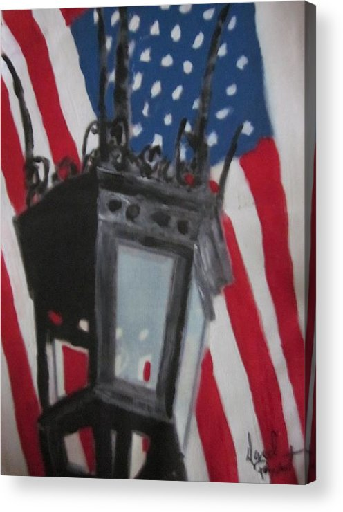 Boston Acrylic Print featuring the painting Boston Lightpost by David Poyant