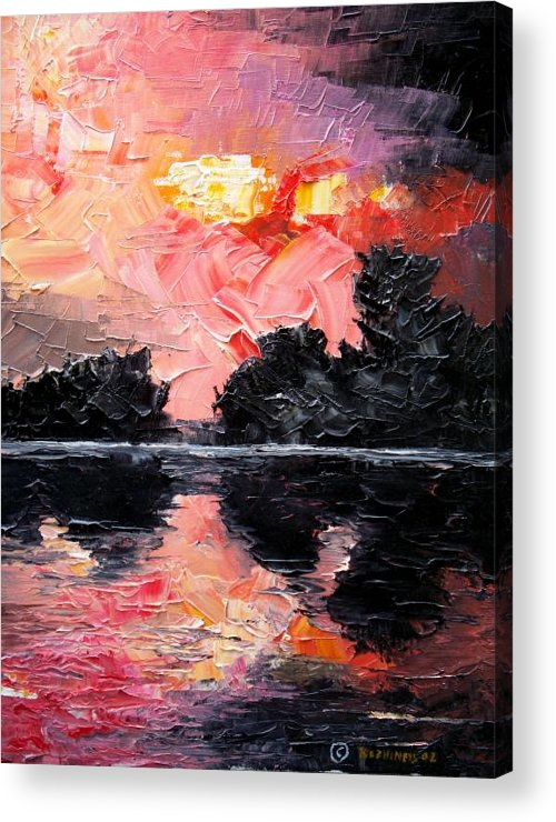 Lake After Storm Acrylic Print featuring the painting Sunset. After Storm. by Sergey Bezhinets