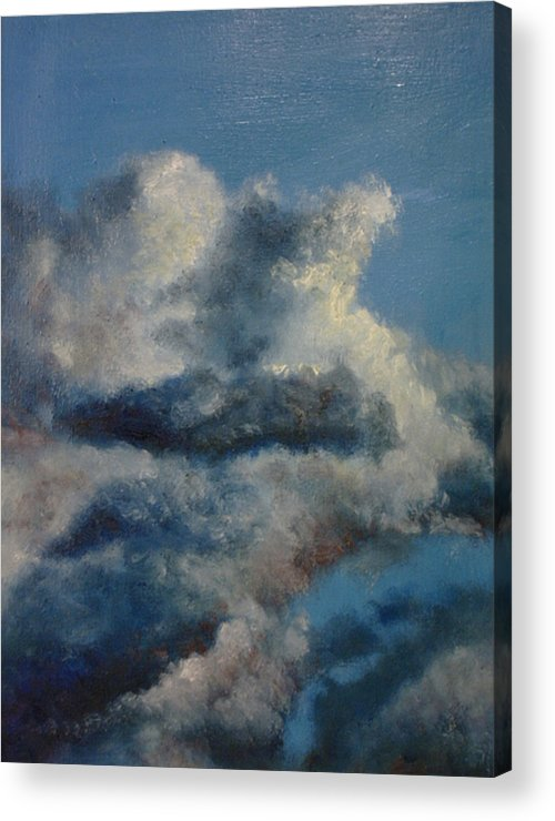 Blue Acrylic Print featuring the painting Blu 2 by John Busuttil Leaver
