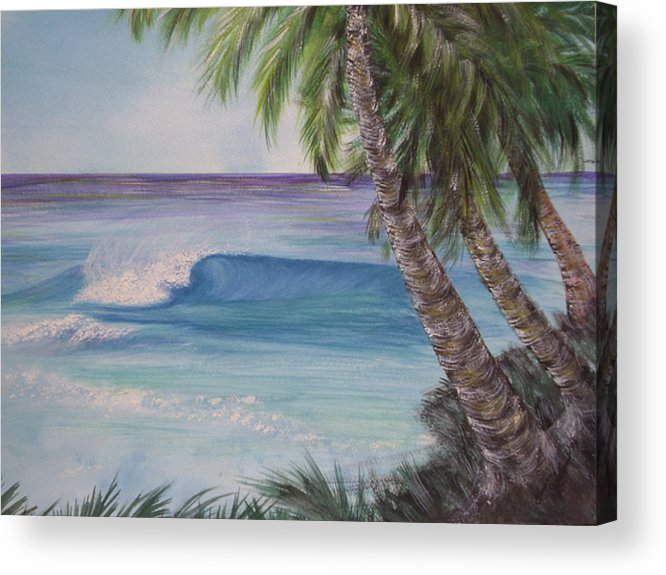 Winter Surf Acrylic Print featuring the painting So Fine by Laura Johnson