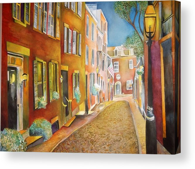 Street Acrylic Print featuring the painting Acorn Street by Susan Wester Perez