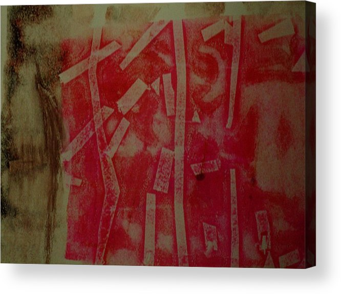 Pink Acrylic Print featuring the mixed media Pink Monotype by Susan Grissom