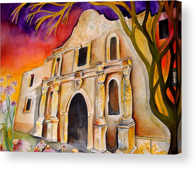 Alamo Acrylic Print featuring the painting The Alamo by Susan Wester Perez