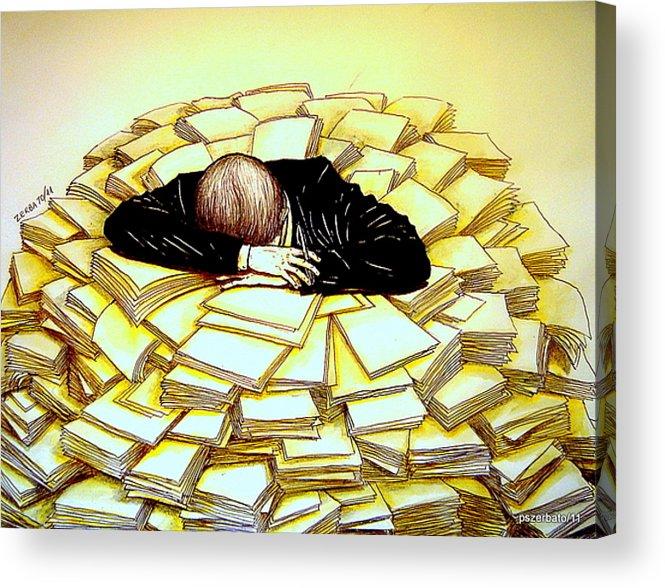 Exhaustive Bureaucracy Acrylic Print featuring the digital art Exhaustive Bureaucracy by Paulo Zerbato