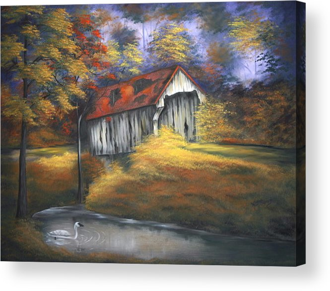 Old Barns Acrylic Print featuring the painting Lone Trumpeter by Ruth Bares