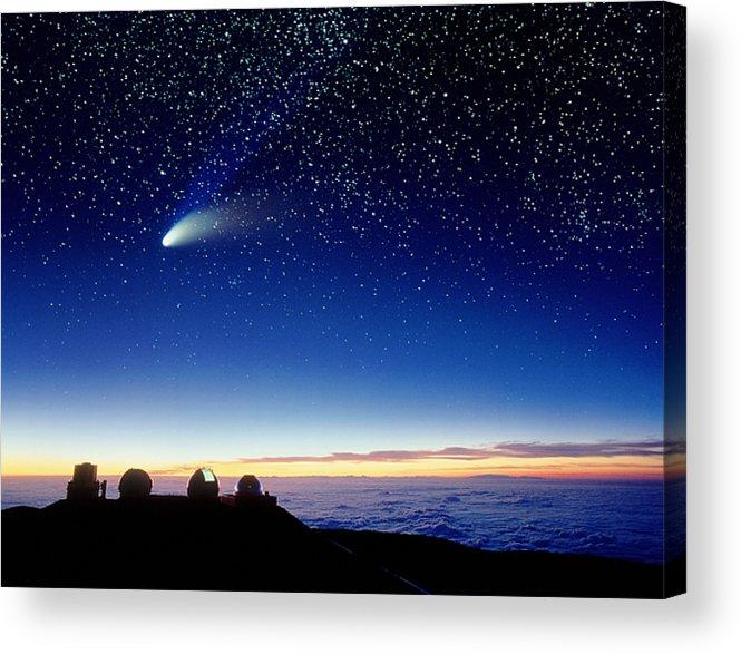 Comet Hale-bopp Acrylic Print featuring the photograph Mauna Kea Telescopes by D Nunuk and Photo Researchers