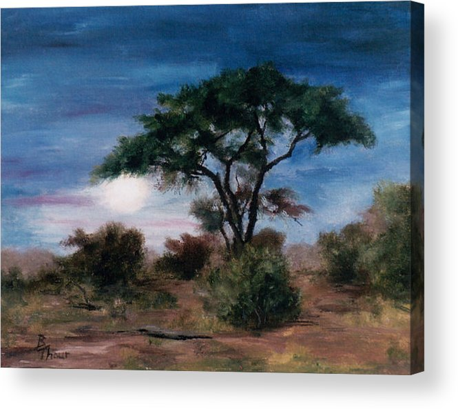 Moon Acrylic Print featuring the painting African Moon by Brenda Thour