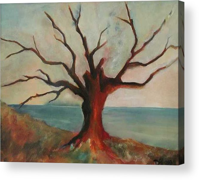 Oak Tree Inspired By Katrina Damage Along The Coast Acrylic Print featuring the painting Lone Oak - Gulf Coast by Deborah Allison