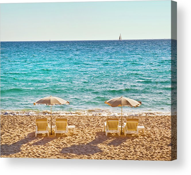 Horizontal Acrylic Print featuring the photograph La Croisette Beach, Cannes, Cote D'azur, France by John Harper