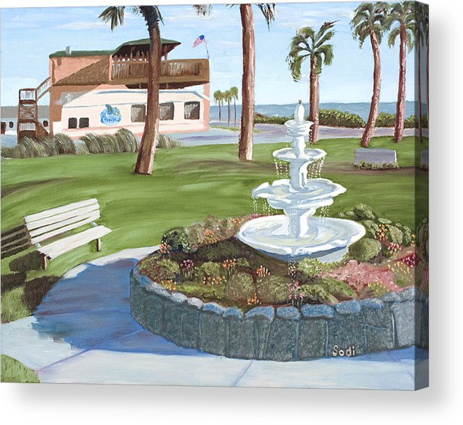 Landscape Acrylic Print featuring the painting Veterans' Park by Sodi Griffin