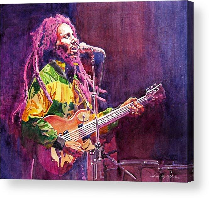 Bob Marley Acrylic Print featuring the painting Jammin - Bob Marley by David Lloyd Glover