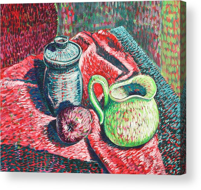 Still Life Acrylic Print featuring the painting Richards Pitcher In Green by Rollin Kocsis