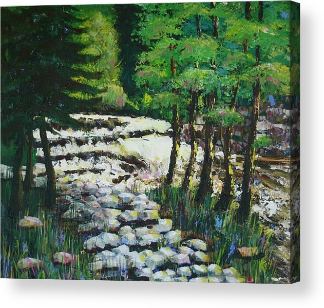Waterfall Acrylic Print featuring the painting Sunlit Waterfall by Art Nomad Sandra Hansen