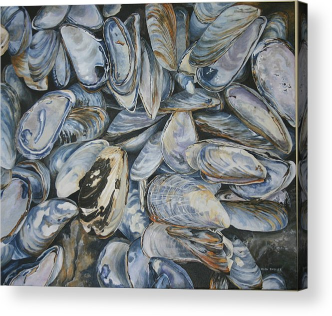 Sea Shells Acrylic Print featuring the painting True Fundy Blues by Helen Shideler