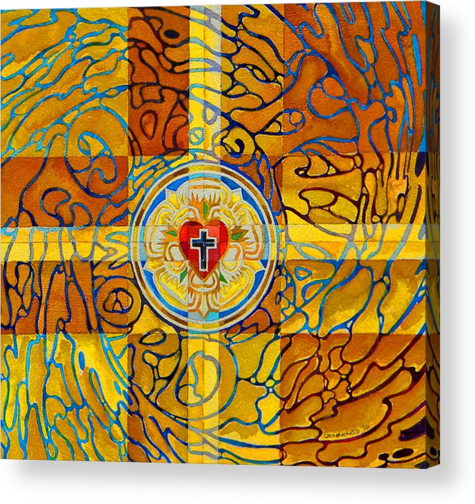 Christian Acrylic Print featuring the painting Psychedelic Rose by Mark Jennings