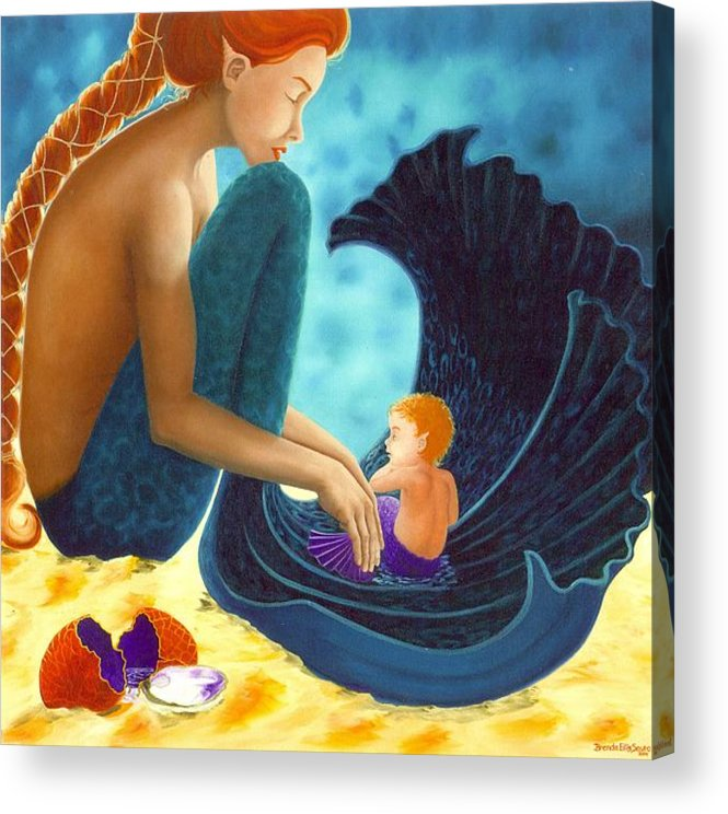 Mermaid Art Acrylic Print featuring the painting Mother And Child by Brenda Ellis Sauro