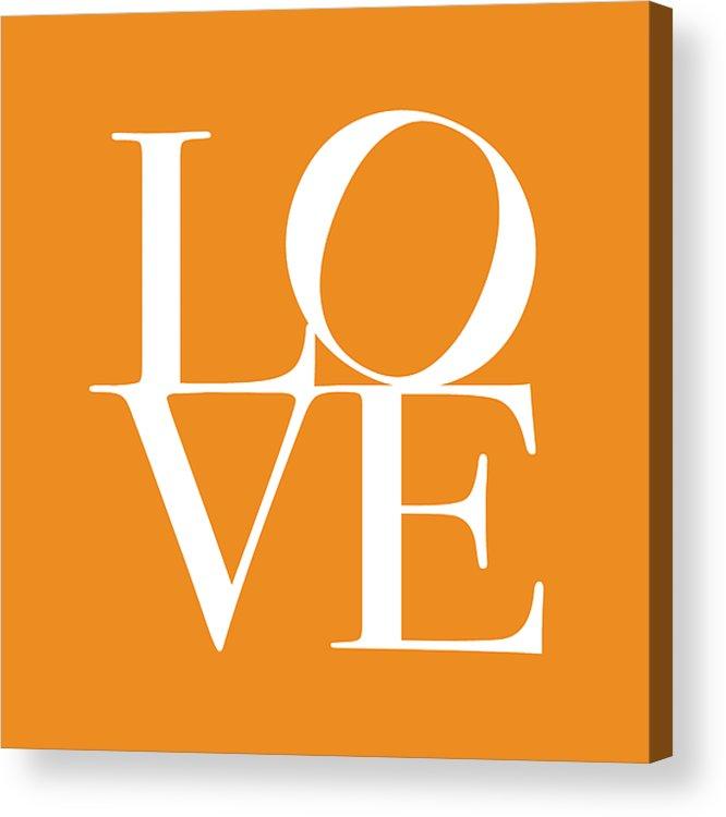 Love Acrylic Print featuring the digital art Love In Orange by Michael Tompsett