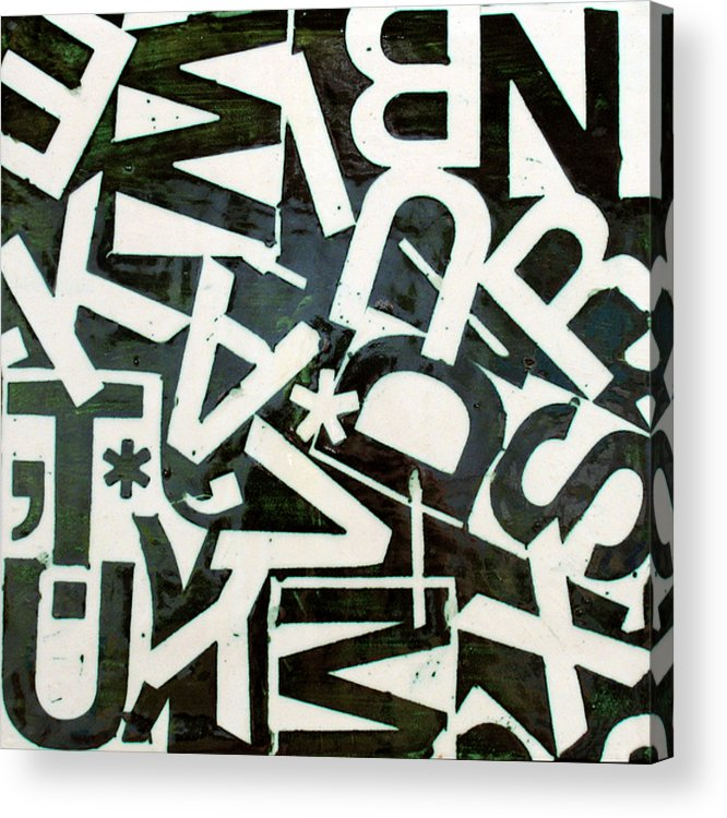 Letters Acrylic Print featuring the relief Wake My Burn Dust Xiv by Jason Messinger