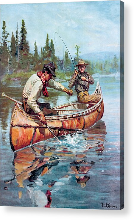Fishing Acrylic Print featuring the painting Two Fishermen In Canoe by Phillip R Goodwin