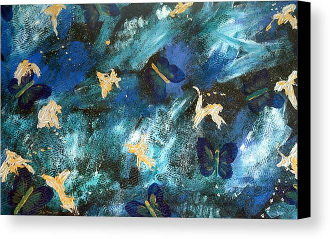 Heavily Textured Canvas Print featuring the painting Butterfly Blue by Sher Green