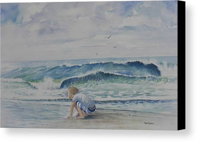 Ocean Canvas Print featuring the painting Finding Sand Crabs by Tom Harris