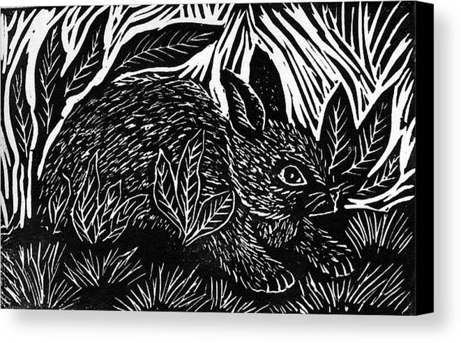 Lino Canvas Print featuring the mixed media Cottontail Block Print by Ellen Miffitt