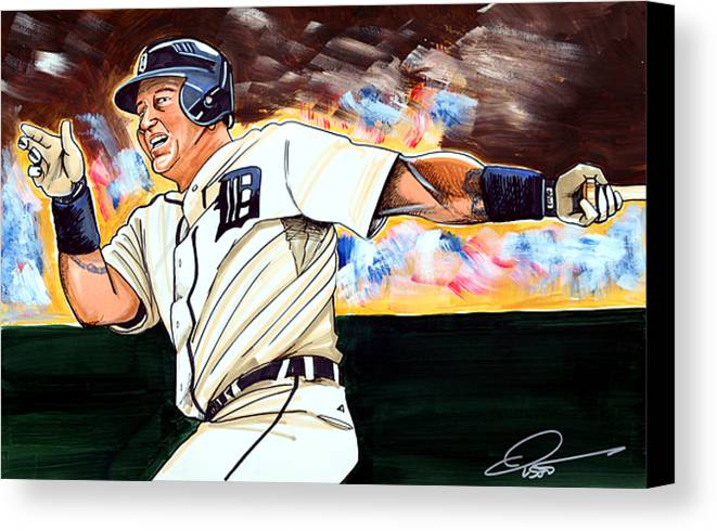 Miguel Cabrera Canvas Print featuring the drawing Miguel Cabrera by Dave Olsen