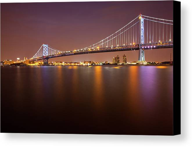 Horizontal Canvas Print featuring the photograph Ben Franklin Bridge by Richard Williams Photography