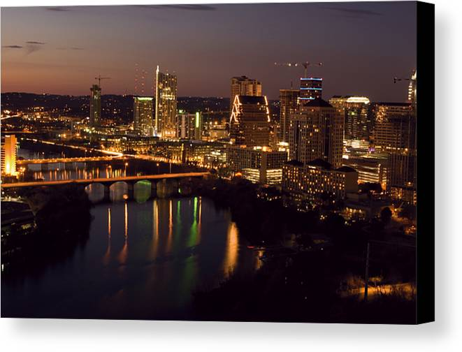 Austin Canvas Print featuring the photograph City Of Austin At Dusk by David Thompson