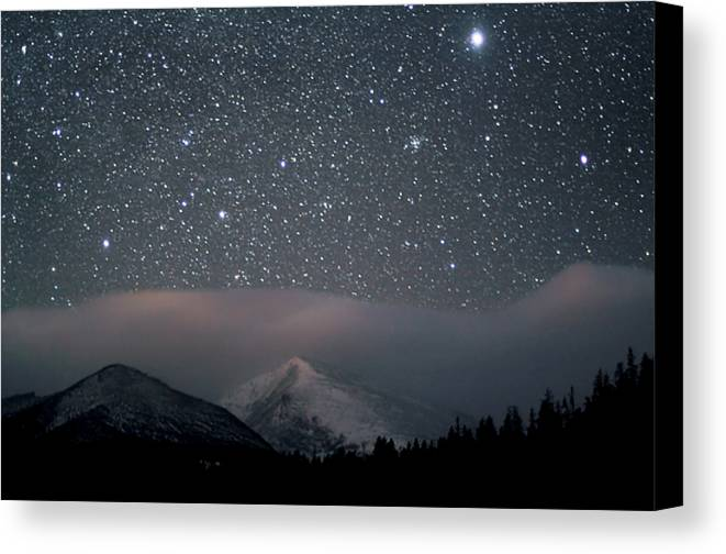 Horizontal Canvas Print featuring the photograph Stars Over Rocky Mountain National Park by Pat Gaines