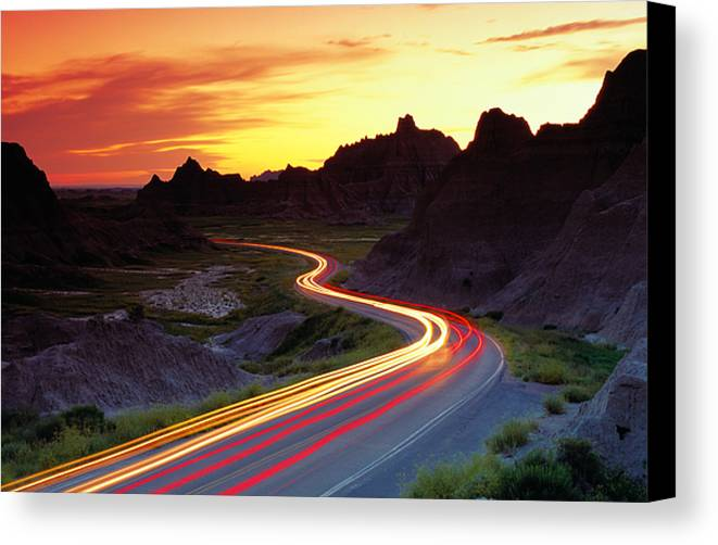 Horizontal Canvas Print featuring the photograph Traffice On Highway, Sunset (long Exposure) by Glen Allison