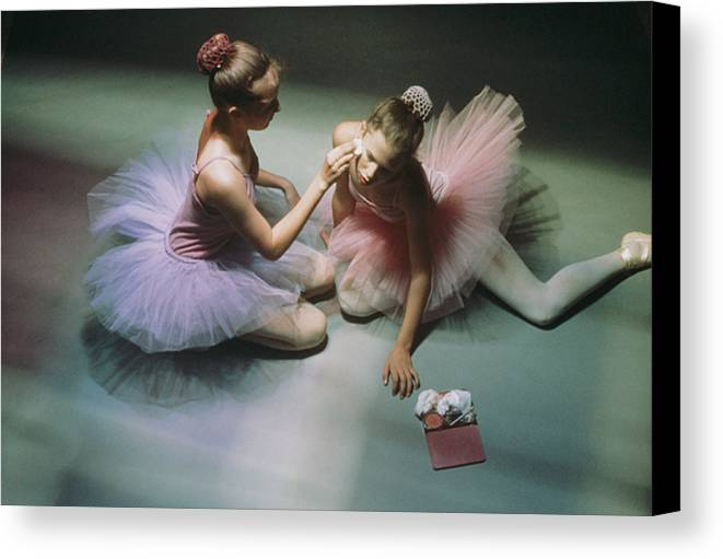 Color Image Canvas Print featuring the photograph Ballerinas Get Ready For A Performance by Richard Nowitz