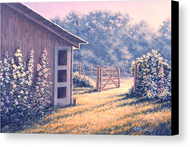 Flowers Canvas Print featuring the painting Holly Hocks by Richard De Wolfe