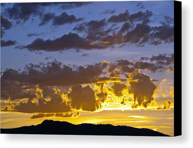 Fort Collins Canvas Print featuring the photograph Sunset Over Horsetooth Rock by Harry Strharsky