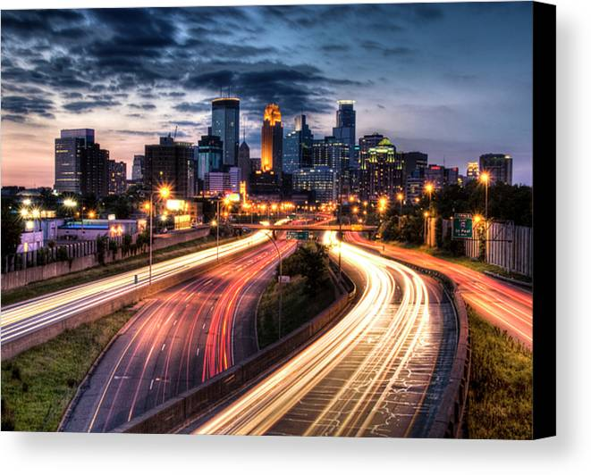 Horizontal Canvas Print featuring the photograph Downtown Minneapolis Skyscrapers by Greg Benz