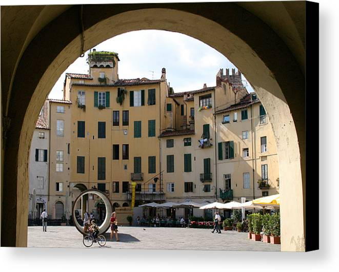 Piazza Canvas Print featuring the photograph Piazza Antifeatro Lucca by Mathew Lodge