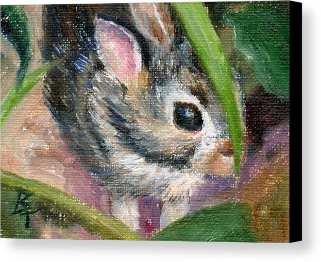 Bunny Canvas Print featuring the painting Hiding Aceo by Brenda Thour
