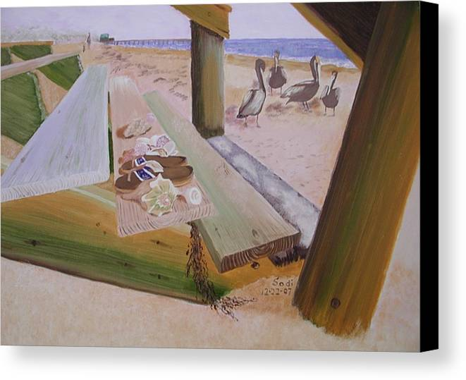 Beach Landscape Canvas Print featuring the painting Beachcomber by Sodi Griffin