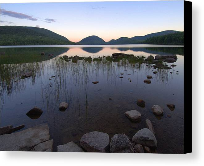 Maine Canvas Print featuring the photograph Eagle Lake Dusk Reflections by Stephen Vecchiotti