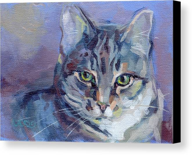 Tabby Cat Canvas Print featuring the painting Green Eyed Tabby - Thomasina by Kimberly Santini
