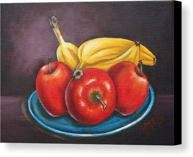 Banana Canvas Print featuring the painting Platter Of Fruit by Ruth Bares