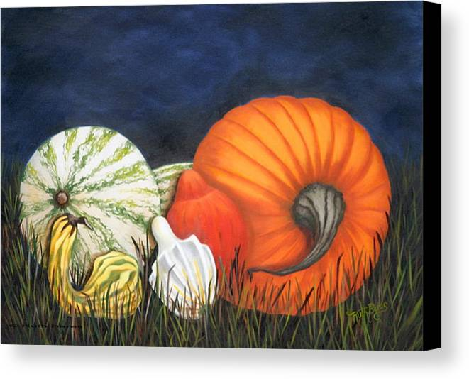 Pumpkin Canvas Print featuring the painting Pumpkin And Gourds by Ruth Bares